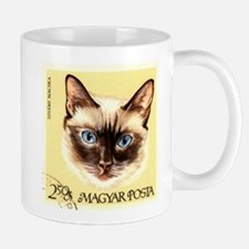 Vintage 1968 Hungary Siamese Cat Postage Stamp Mug