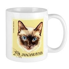 Vintage 1968 Hungary Siamese Cat Postage Stamp Small Mug
