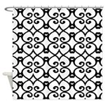 Black and White Ornamental Pattern Shower Curtain