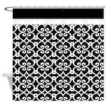 Black and White Elegant Lace Pattern Shower Curtai