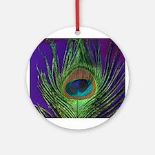 Purple Foil Peacock Ornament (Round)