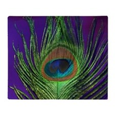 Purple Foil Peacock Throw Blanket
