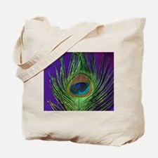 Purple Foil Peacock Tote Bag