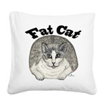 Fat Cat Square Canvas Pillow