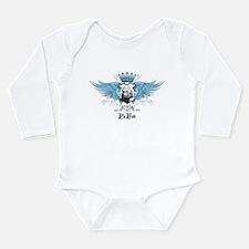 Blue Pit Bull Wing Crest Long Sleeve Infant Bodysu