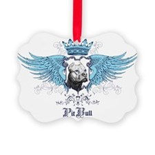 Blue Pit Bull Wing Crest Ornament