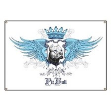 Blue Pit Bull Wing Crest Banner