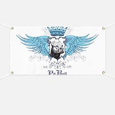 Blue Pit Bull Wing Crest Banner
