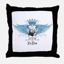Blue Pit Bull Wing Crest Throw Pillow