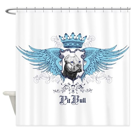Blue Pit Bull Wing Crest Shower Curtain By Sharpeipuppydog