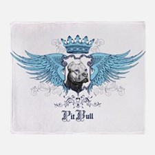 Blue Pit Bull Wing Crest Throw Blanket