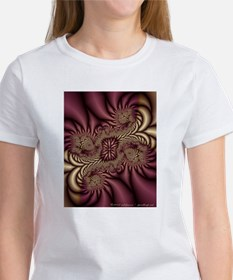 Burgundy/Gold Fractal Art Women's TShirt