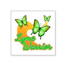 "Lyme Warrior Butterflies Square Sticker 3"" x 3"""