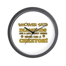 Cheetoh cat mommy designs Wall Clock