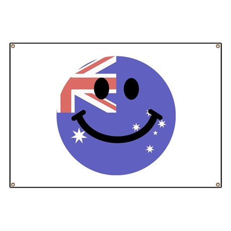 australian flag smiley face banner by inspirationzstore