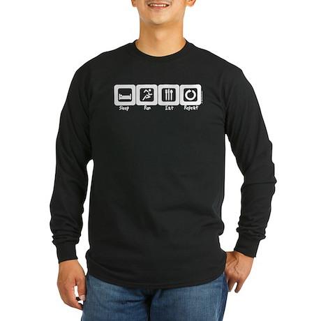 Sleep -Run- Eat- Repeat Long Sleeve Dark T-Shirt