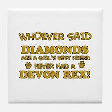 Devon Rex cat mommy designs Tile Coaster