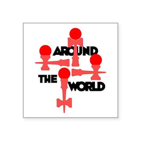 "Around the World Square Sticker 3"" x 3"""