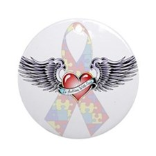 Autism Awareness Ribbon with Heart and wings Ornam