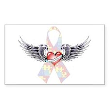Autism Awareness Ribbon with Heart and wings Stick