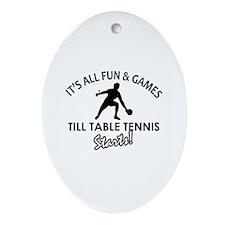 Unique Table Tennis designs Ornament (Oval)