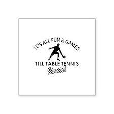 """Unique Table Tennis designs Square Sticker 3"""" x 3"""""""