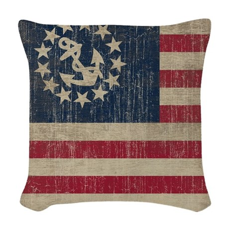 Vintage America Yacht Flag Woven Throw Pillow by iloveyou1
