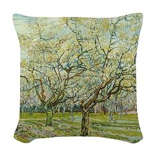 Van Gogh White Orchard Woven Throw Pillow