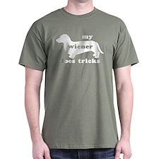 Wiener Tricks Military Green T-Shirt