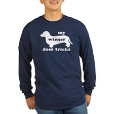 Wiener Tricks Long Sleeve Navy Blue T-Shirt