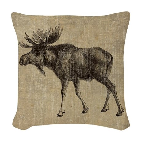 Vintage Moose Woven Throw Pillow by esangha