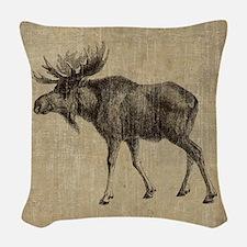 Vintage Moose Woven Throw Pillow