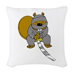 Ninja Beaver Woven Throw Pillow