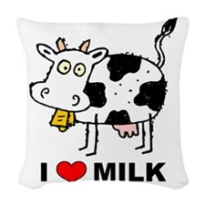 I Love Milk Woven Throw Pillow