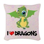 I Love Dragons Woven Throw Pillow