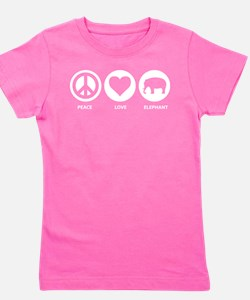Peace Love Elephant Girl's Tee