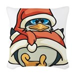 Christmas Penguin Woven Throw Pillow