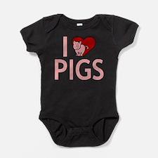 I Love Pigs Baby Bodysuit