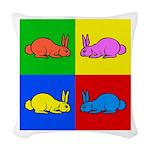 Pop Art Rabbit Woven Throw Pillow