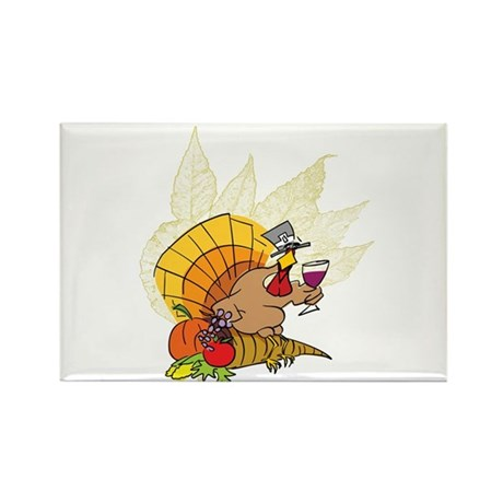 toasting Thanksgiving Turkey Rectangle Magnet (10