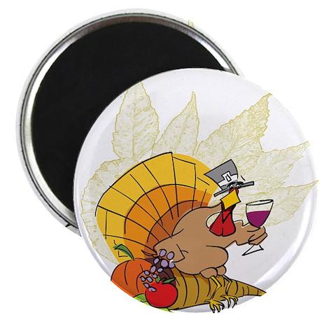 "toasting Thanksgiving Turkey 2.25"" Magnet (10 pack"