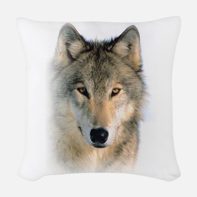 Wolf Woven Throw Pillow