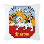 Snow Lion + Dharma Woven Throw Pillow