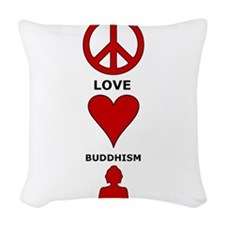 Peace Love Buddhism Woven Throw Pillow