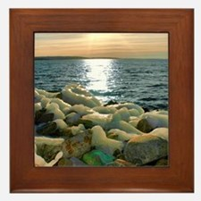 Icy Rocks By Lake Framed Tile