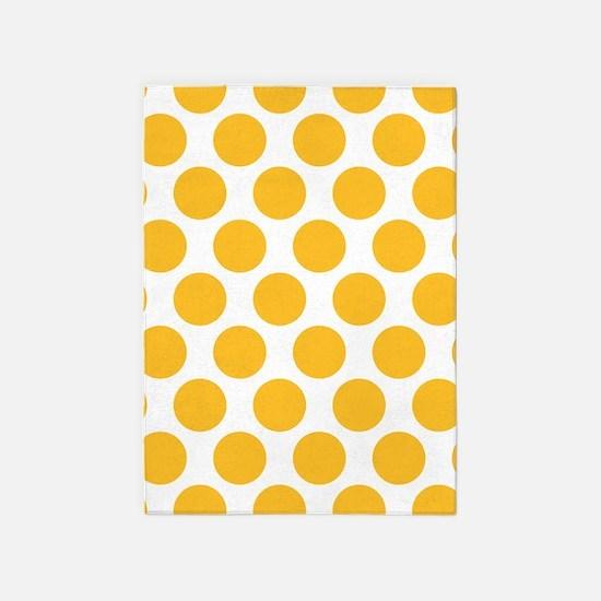 Sunny Yellow Polkadot 5'x7'Area Rug