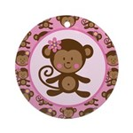 Cute Girl Monkey Ornament (Round)