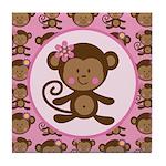 Cute Girl Monkey Tile Coaster
