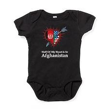 Half Heart Afghanistan Baby Bodysuit