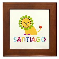 Santiago Loves Lions Framed Tile